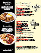 Pancakes and crepes page of menu