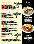 Sandwiches and drinks page of menu