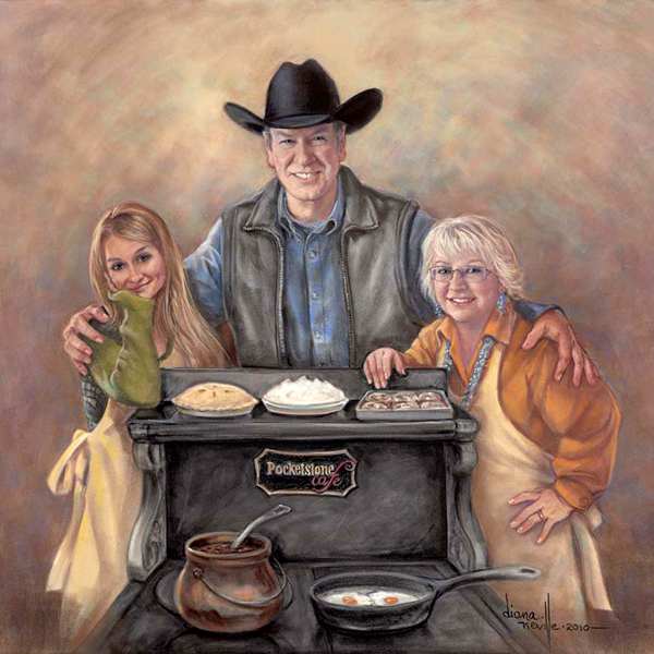 Pastel portrait of three Pocketstone owners.